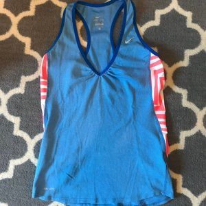Nike Blue Tank with Pink Neon Zigzags Sz S